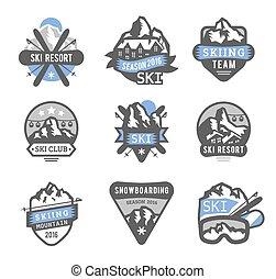 uciekanie się, wektor, elementy, logo, symbole, etykiety, emblematy, narta