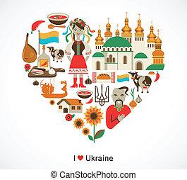 ucrânia, amor, -, coração, com, ícones, e, elementos
