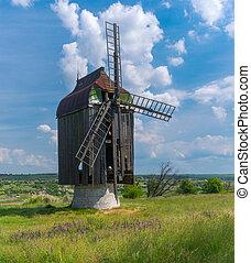 ucrânia, antiga, madeira, oblast, vila, zaporizhia, moinho,...