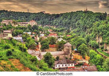 ucrânia, cidade, -, kamianets-podilskyi, vista