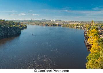 ucrânia, cidade, zaporizhia, riverside, rio, dnepr