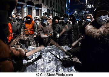 ucrânia, hrushevskoho, protests, tropas, pessoas, kiev., ukrainian, kiev, governo, -, centro, janeiro, 20, 2014:, massa, preparar, tempestade, capital, st., anti-government