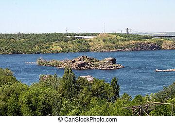 ucrânia, ilha, dnieper, rio, zaporizhia