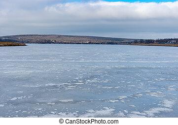 ucrânia, inflow, cidade, congelado, vasilyvka, oblast,...