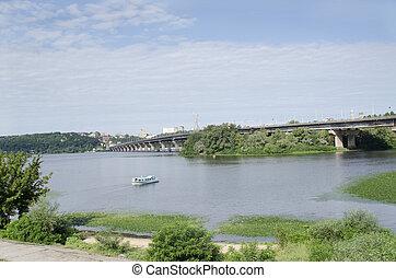 ucrânia, kiev, paton, ponte, sobre, dnipro, rio