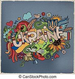 ucrânia, lettering, elementos, mão, fundo, doodles