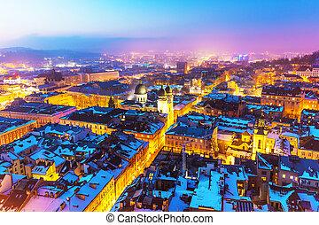 ucrânia, lviv, vista, aéreo, noturna