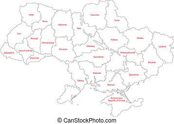 ucrânia, mapa, esboço