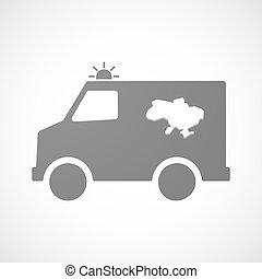 ucrânia, mapa, furgon, isolado, ambulância, ícone