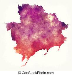 ucrânia, mapa, região, aquarela, fundo, frente, zaporizhia,...