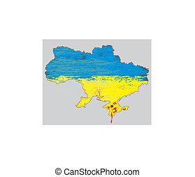 Ucrânia, mapa, vetorial, sangue,  crimea