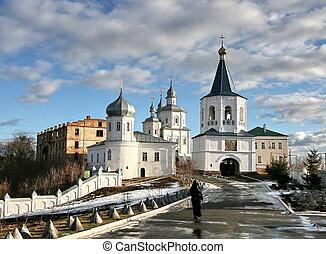 ucrânia, molchansky, putivl, silencioso, mosteiro, mãe,...
