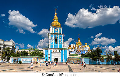 ucrânia, monastery., michael's, st., golden-domed, kiev