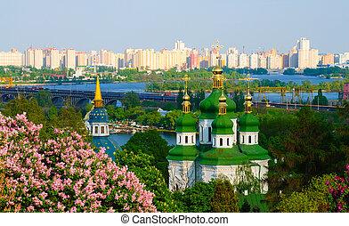 ucrânia, mosteiro, kiev, vidubichi, vista panoramic