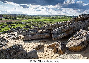 ucrânia, pedra, mohyla, oblast, gama, zaporizhia, kamyana