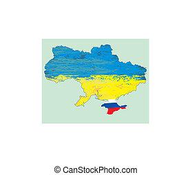 ucrânia, vetorial, mapa, rússia, em, crimea
