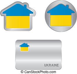 ucraina, casa, bandiera, icona