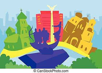 ucraina, città, silhouette, kiev, astratto, orizzonte, grattacielo