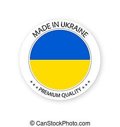 ucraina, fatto, premio, ucraino, semplice, adesivo, moderno, isolato, vettore, etichetta, francobollo, bandiera, fondo, colori, bianco, qualità, disegno