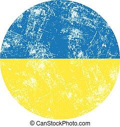 ucraina, grunge, francobollo, country., illustrazione, bandiera, vettore, rotondo