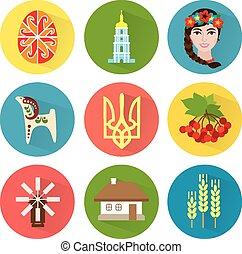 ucraina, icone, set, 1