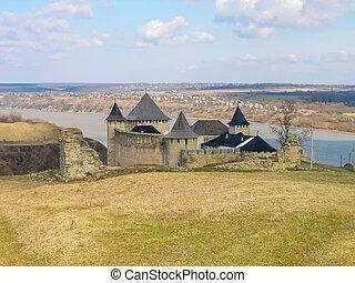 ucraina, khotyn, contro, generale, fiume, dniester, fortezza, vista