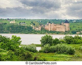 ucraina, khotyn, fiume, dniester, banca, sinistra, fortezza, vista