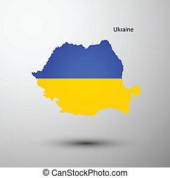 ucraina, mappa, bandiera
