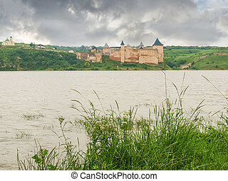 ucraina, opposto, khotyn, fiume, dniester, banca, fortezza, vista