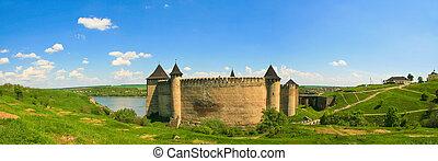 ucraina, panorama, khotyn, dniester, riverside., fortezza