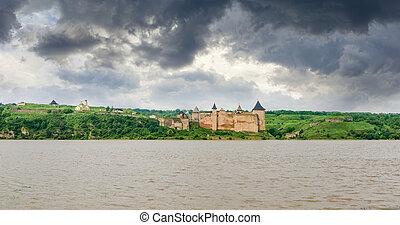 ucraina, panorama, khotyn, fiume, dniester, banca, fortezza
