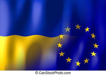 ucraina, unione, bandiere, europeo