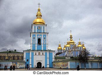 ucrania, campana, michael's, kiev, torre, s.