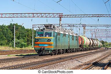 Ucrania, carga, tren, carga, líquido