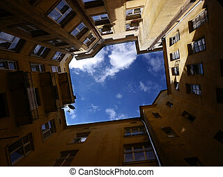 ucrania, cuadrángulo, cielo, bien, nublado, patio, lviv, cerrado, vistos
