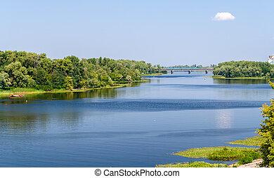 ucrania, dnieper, río, kiev, vista