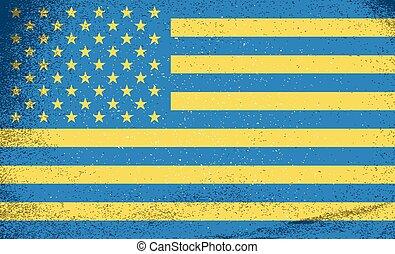 ucrania, illustration., estados unidos de américa, countries., vector, banderas, combinado, juntos.