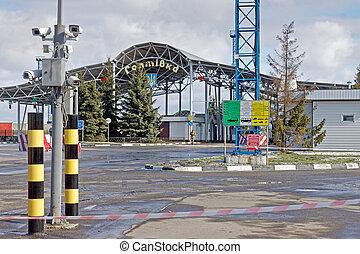 ucrania, internacional, automóvil, punto de comprobación, ...