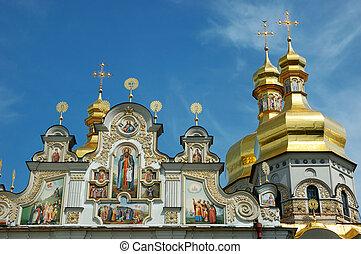 ucrania, kiev, ortodoxo, monasterio, cúpulas, lavra, ...