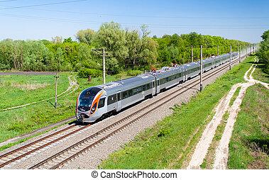 Ucrania, pasajero, tren, moderno, Rápido