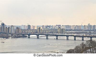 ucrania, puente, metro, encima, dnieper, kiev, vista