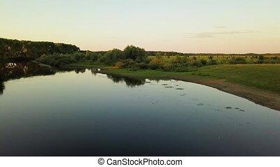 ucrania, río, vuelo, encima, rodeado, -, árboles, praderas, ...
