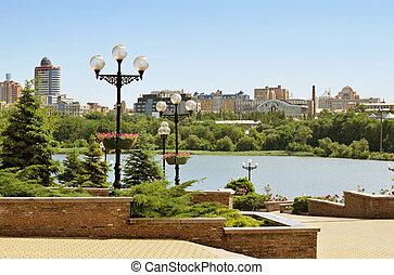 ucrania, shcherbakov, parque, donetsk