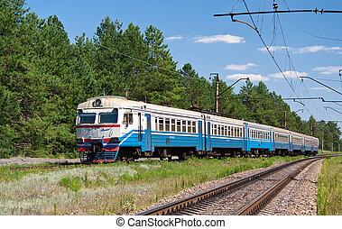 Ucrania, suburbano, tren, eléctrico