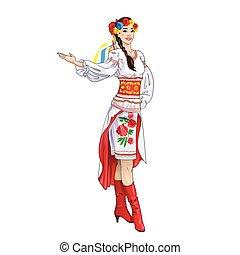 ucranio, bienvenida, mano, disfraz, niña, ropa