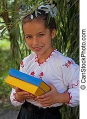 ucranio, color, bandera, libros, bordado, niña