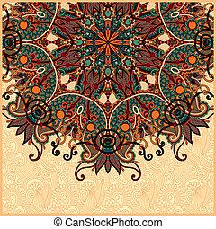 ucranio, estilo, patrón, oriental, étnico, floral, redondo