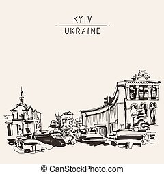 ucranio, khreshchatyk, calle, marcador, principal, dibujo