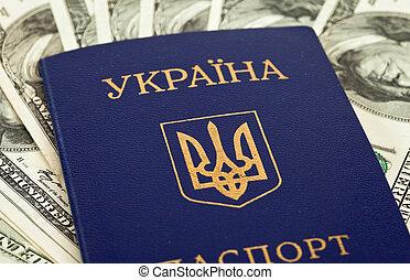 ucranio, pasaporte, en, nosotros dólares, plano de fondo