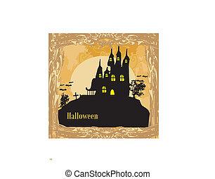 uczęszczany dom, halloween, grungy, tło